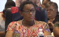 A screengrab of Social Development Minister Bathabile Dlamini answering questions on her role in the social grant payments debacle.
