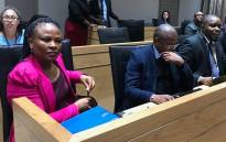 (From left) Public Protector Busisiwe Mkhwebane, CEO Vussy Mahlangu, Deputy Public Protector Kevin Malunga, Knowledge Management Manager Adv. Neels van Der Merwe minutes before the meeting with the Portfolio Committee on Justice on 13 June 2018. Picture:  @PublicProtector/Twitter