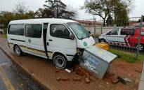 Paramedics say they found the taxi parked on the pavement against an electrical box in Milpark. Picture: @ER24EMS/Twitter.