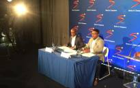MultiChoice CEO Calvo Mawela (R) and SuperSport CEO Gideon Khobane address the media on 19 June 2018. Picture: Philasande Sixaba/EWN.