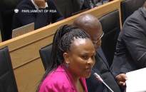 A screengrab shows Public Protector Busisiwe Mkhwebane in Parliament on 13 June 2018. Picture: SABC Digital News/youtube.com