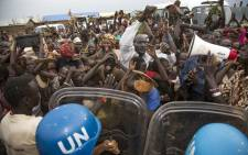 FILE: Internally displaced people demonstrate during a visit by the US ambassador to the United Nations to Juba in the Democratic Republic of Congo on 25 October 2017. Picture: AFP