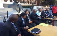 aders of various opposition parties hold a briefing outside Parliament on the motion of no confidence in President Jacob Zuma, which Baleka Mbete has decided will be held by secret ballot. Picture: Lindsay Dentlinger/EWN.