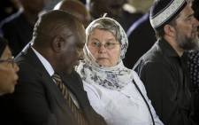 FILE: Barbara Hogan speaks to Cyril Ramaphosa during Ahmed Kathrada's funeral at Westpark Cemetery in Johannesburg on 29 March 2017. Picture: EWN.