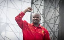 UDM leader Bantu Holomisa raises his fist before he addresses the crowd at the Freedom Movement rally against the leadership of President Jacob Zuma in Pretoria on 27 April 2017. Picture: EWN.