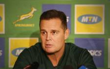 Springbok Coach, Rassie Erusmus, addresses the media before the third and final test against England at Newlands. Picture: Bertram Malgas