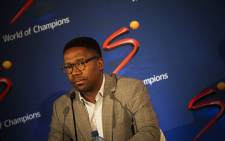 SuperSport CEO Gideon Khobane briefs the media on the outcomes of Ashwin Willemse. Picture: Kayleen Morgan/EWN.