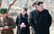 Kim Yo Jong (centre back) with North Korea leader Kim Jong Un (front). Picture: AFP