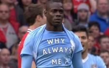 Mario Balotelli after scoring against Man UTD. Picture: Facebook.