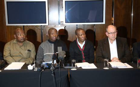 Leaders of opposition parties at a briefing on the upcoming motion of no confidence in President Jacob Zuma. Picture: Christa Eybers/EWN.