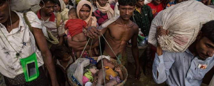 A baby in a basket is one of 1.2 million Rohingya refugees in Bangladesh. Picture: @UNICEF/Twitter.