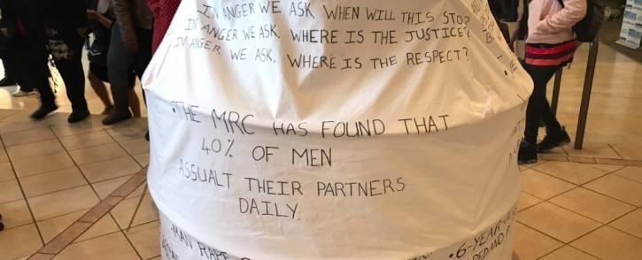 An installation in the foyer of the Artscape is seen during a Women's Day event in Cape Town. Picture: Monique Mortlock/EWN.