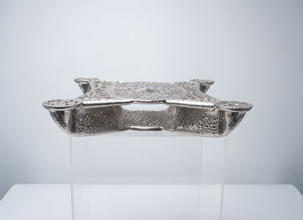 Metal plated drone frame side view