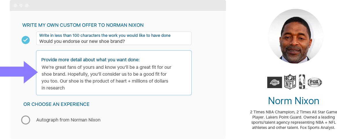 Custom offer to Norm Nixon