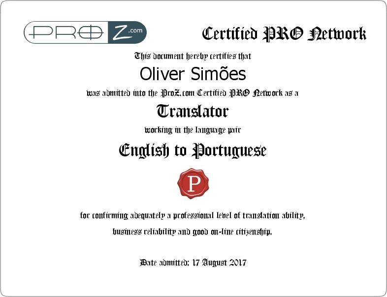 PRO Certificate