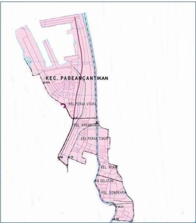 Peta Kecamatan Pabean Cantikan Surabaya Utara