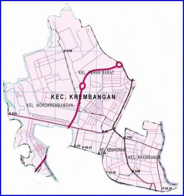 Peta Kecamatan Krembangan Surabaya Utara