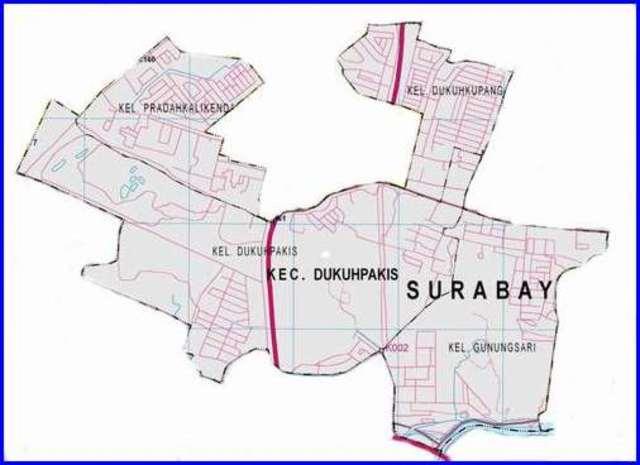 Peta Kecamatan Dukuh Pakis Surabaya Selatan