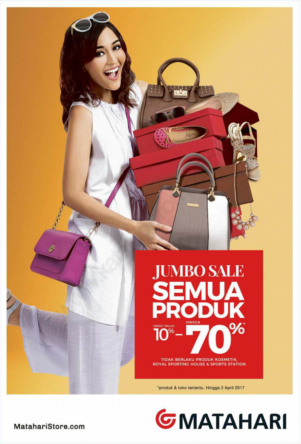 Promo MATAHARI Dept Store JUMBO SALE! Diskon 10% – 70% Semua Produk Hingga 2 April 2017