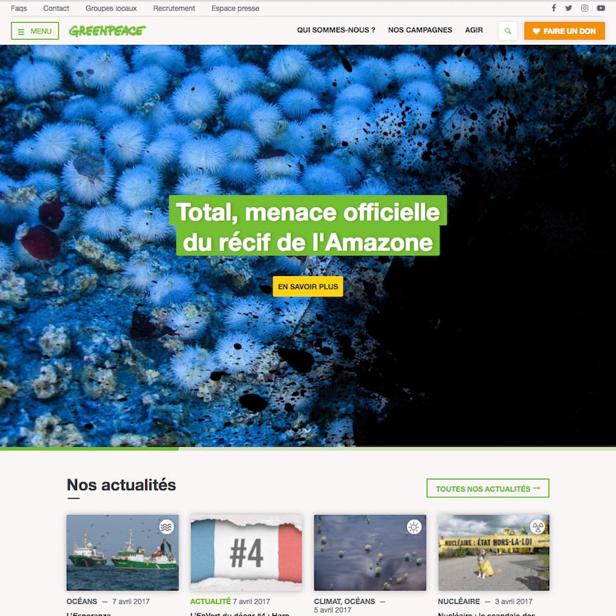 greenpeace.fr - gestion de projet web et développement Wordpress