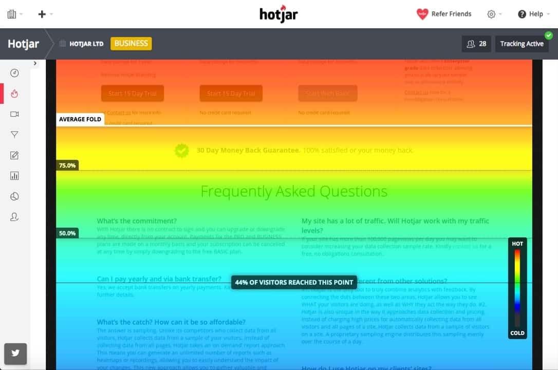 Ergonomie, UX : ligne de flottaison sous Hotjar - conception de site web