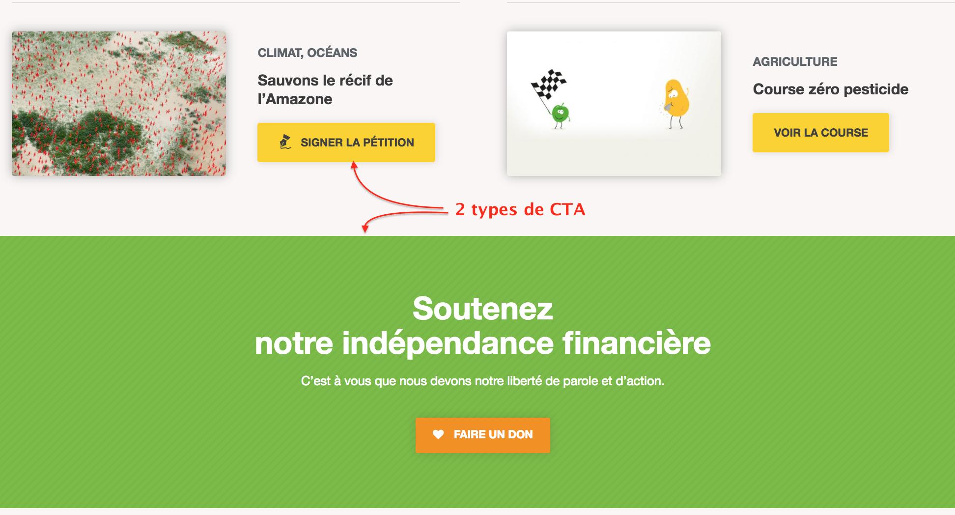 2 types de CTA sur la home de greenpeace.fr