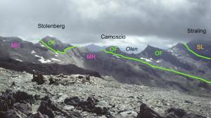 3. Legenda: MR falda continentale del Monte Rosa; OF falda oceanica; SL falda continentale Sesia.