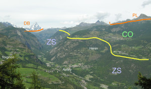12. Le bas Valtournenche et le site d'Hérin. ZS: unité océanique profonde de Zermatt-Saas. CO: unité océanique supérieure du Combin. DB et PL: nappes continentales issues de la plaque supérieure.
