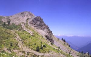 Panoramica della faglia in sezione presso la sommità del Mont Ros