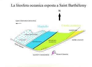 Sulla superficie di sbancamento (1 km a est dell'Osservatorio astronomico della Valle d'Aosta) si susseguono le litologie tipiche della litosfera oceanica