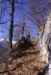 Il Chemin des Lauzes costeggia una parete di lastre con la consueta giacitura subverticale