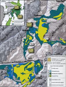 03 - La région alpine où affleure l'Unité océanique éclogitique Zermatt-Saas, du Valais suisse au Mont Avic. D'après Angiboust et al. (2009).