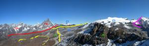 """20-b - Les contacts tectoniques sont soulignés en couleur. MR: dome cristallin continental du Mont Rose. ZS: nappe océanique profonde Zermatt-Saas. ZC: nappe océanique du Combin. DB: nappe continentale """"africaine"""" du Cervin (Dent Blanche). En jaune la bande lagunaire des Cime Bianche."""