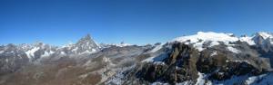 20-a - Dalla cima della Roisetta, veduta panoramica della serie di sovrascorrimenti fra Monte Rosa e Cervino.