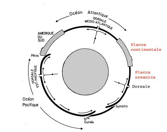 Relazioni fra le varie placche e l'astenosfera sottostante