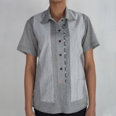 Silver Grey And Vertical Stripes Front Placket Top
