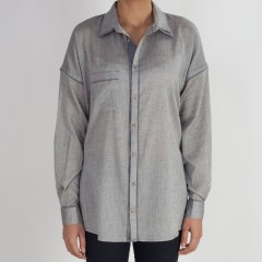 Silver Grey And Charcol Detail Boyfriend Shirt