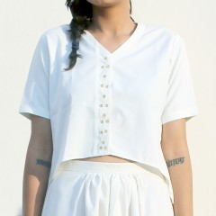White And Gold Crop Shirt