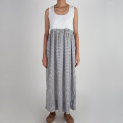Ankle Length Grey And White Striped Dress