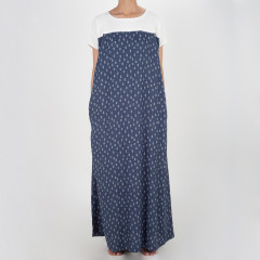 Floor Length Printed Dress With Knitted Yoke