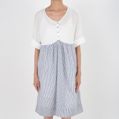Knee Length Dress With Knitted Yoke