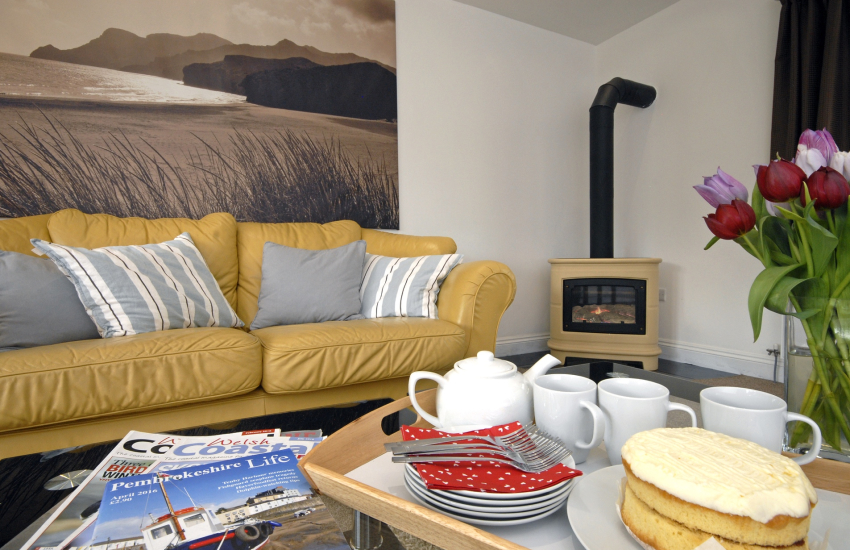 Amroth holiday house sitting room with gas log-burning stove