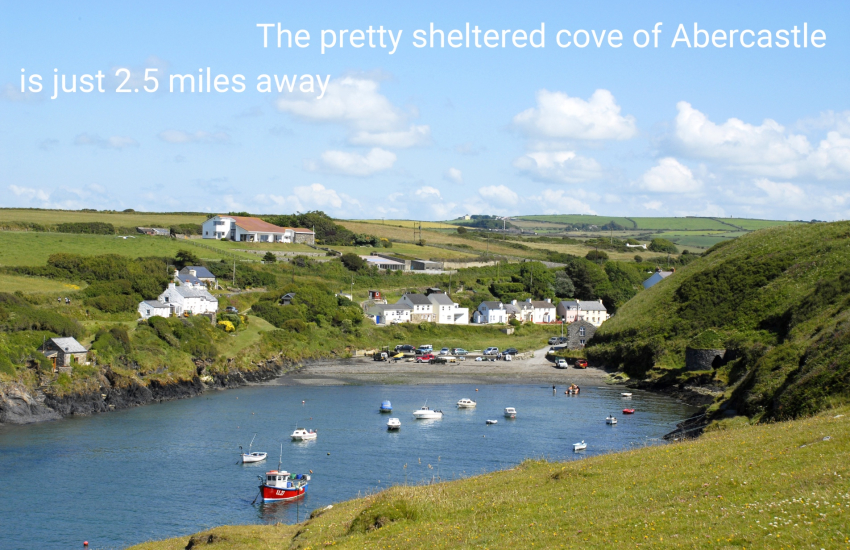 The pretty sheltered cove of Abercastle is just 2.5 miles away