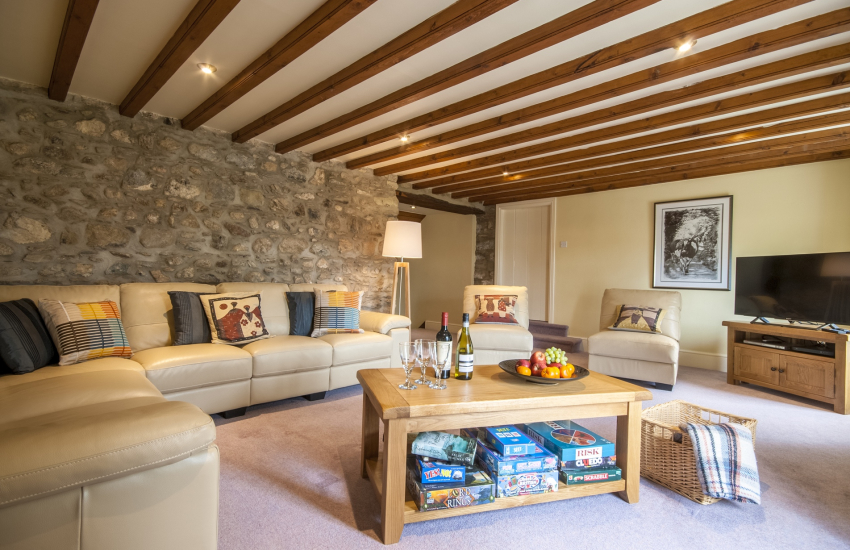 St Davids holiday home - spacious lounge with flat screen TV WiFi internet