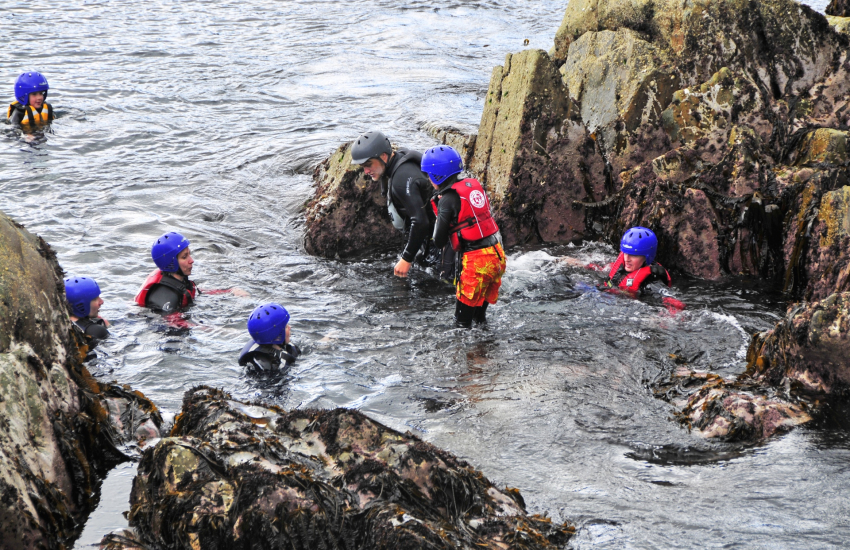 Celtic Quest offer coasteering from the Blue Lagoon Abereiddy