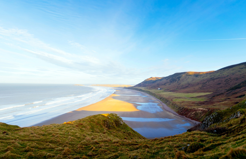 Rhossili Beach 3 miles long and voted amongst the top 5 beaches