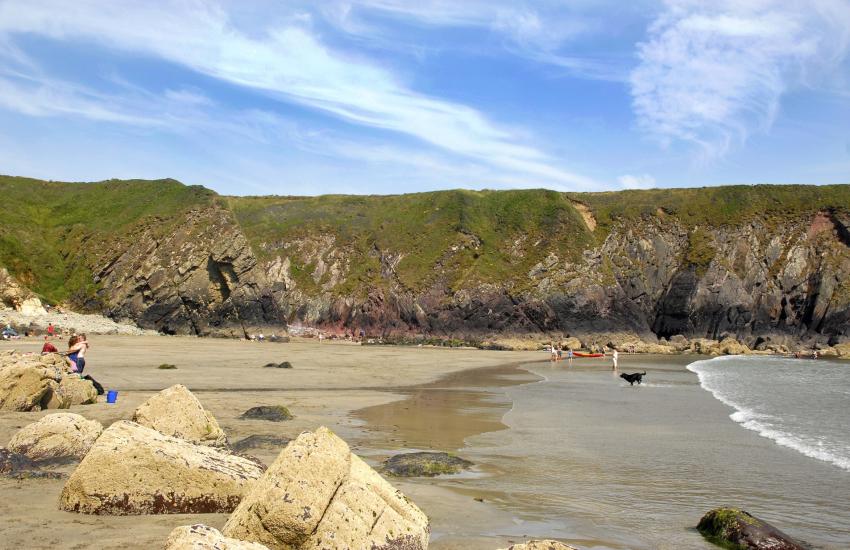 Caerfai Bay, St Davids is a beautiful sandy cove
