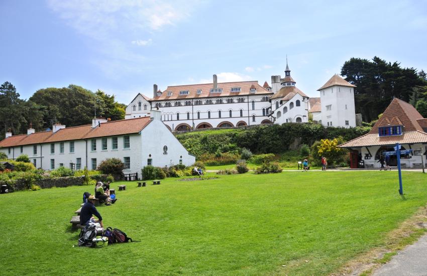 Caldey Island's Cistercian Monastery overlooks the village green