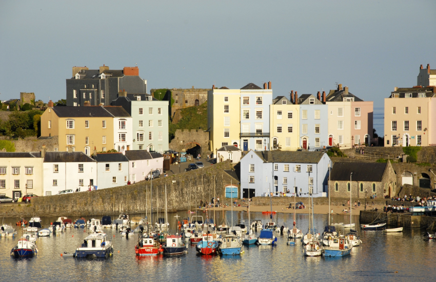 Tenby's medieval walled town with cobbled streets