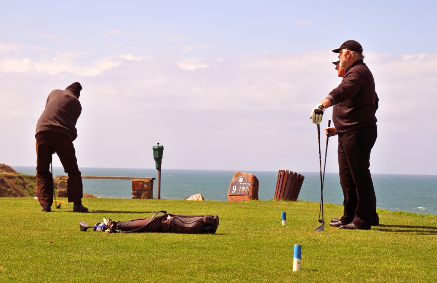Porthdinllaen golf course on the headland